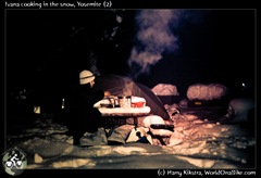 Ivana cooking in the snow, Yosemite (2)