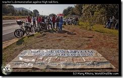 teacher's demonstration against high toll fees