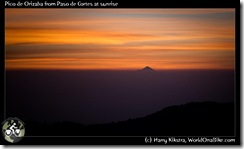 Pico de Orizaba from Paso de Cortes at sunrise